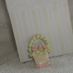 adorable basket pin.  #handmade #CreatingCottage #Roses #CottageStyle #Cottage #ShabbyChic #Shabby #Chic #polymerclay #white #pink #romantic  @Renee Holtzer
