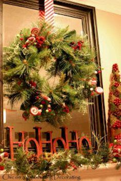 Wreath on a big mirror