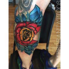 Colorado Flag Rose Tattoo