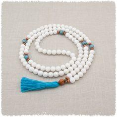 Dolomite Mala Beads White & Blue by Golden Lotus Mala