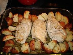 Lemon Chicken with Green Beans and New Potatoes Recipe by CRBROWNEWELL via @SparkPeople