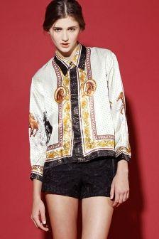 Vintage 70s Metallic Scarf Print Silk Blouse http://thriftedandmodern.com/vintage-70s-metallic-silk-scarf-print-blouse