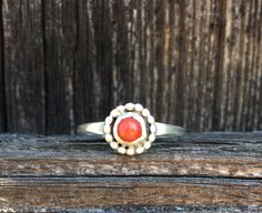 Vintage .925 Sterling Silver, Genuine Red Coral, Size 6 Womans Ring. by VintageNprints on Etsy https://www.etsy.com/listing/535076195/vintage-925-sterling-silver-genuine-red