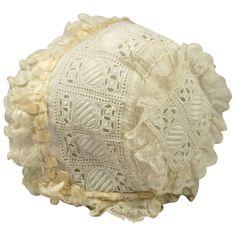 Sweet Antique English 19th Century Small Babies Cap/ Dolls Bonnet