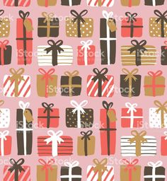 Seamless pattern of gift boxes royalty-free stock vector art