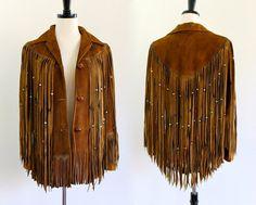 70s Brown Suede Southwestern Leather Fringe Boho Hippie Indian Ethnic Beaded Gypsy Jacket Coat . XS . small . hanger