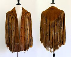70s Brown Suede Leather Fringe Beaded Jacket. .