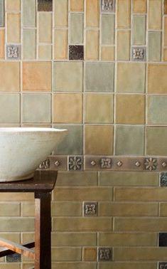 craftsman-shape and color, for first floor tub/shower combo surround. Craftsman Tile, Craftsman Bathroom, Craftsman Style Homes, Craftsman Bungalows, Craftsman House Plans, New House Plans, Mission Style Kitchens, Mission Style Homes, Mission House