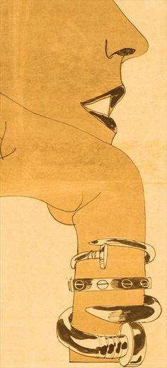 illustration of Cartier's Juste un Clou (nail) and LOVE (screw) bracelets, 1971 WWD http://www.baguecartierlove.eu/replica/bijoux-love-cartier-c825