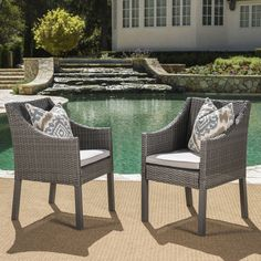 cypress outdoor wicker dining chairs with cushions set of 2 by