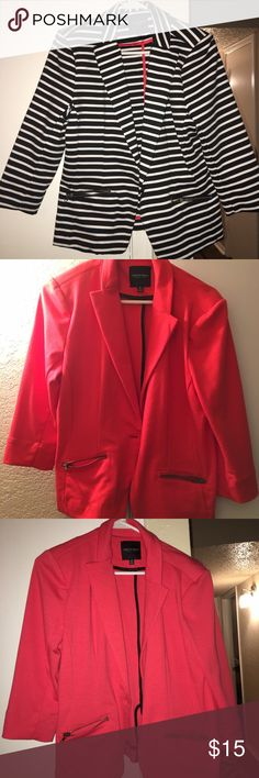 2 blazers The second one is coral. Pictures look more red but terrible lighting and not true to color. Selling as a set. Both the same size and great deal!! Christian Siriano Jackets & Coats Blazers