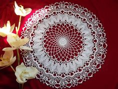 lace crochet tablecloth round placemat table easter decoration lace doily centerpiece napkins napperon white cotton birthday gift mom day by MondoTSK on Etsy