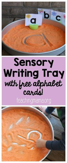 """SEP 18 READING """"M"""" Sensory Writing Tray with Alphabet Cards - This is such an easy and effective way to teach handwriting to preschoolers. Click through to get your FREE alphabet cards! Preschool Literacy, Literacy Activities, Activities For Kids, Literacy Stations, Science Classroom, Teaching Resources, Teaching Ideas, Teaching Handwriting, Handwriting Games"""