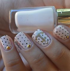 cute cream & polka dots nautical nails by judyrox Nail Art Diy, Diy Nails, Anchor Nails, Nautical Nails, Color Dorado, Tips Belleza, Love Nails, Nails Inspiration, Summer Nails