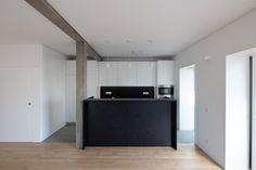 BLA Apartment / Alexandre Loureiro Architecture Studio + Gabriela Pinto Plank Flooring, Wooden Flooring, Apartment Furniture Layout, Arch Interior, Semi Detached, Open Plan Living, Building Design, Living Area, Floor Plans