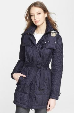 Burberry Brit 'Finsbridge' Belted Quilted Jacket available at ...