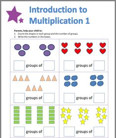 Repeated Addition Worksheets, Repeated Addition Multiplication, Array Worksheets, Math Multiplication Worksheets, Multiplication Problems, Free Math Worksheets, Kindergarten Worksheets, 1st Grade Math, Math Class