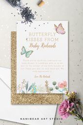 Shop Butterfly Kisses Floral Baby Shower Thank You Card created by NamiBear. Butterfly Baby Shower, Baby Shower Niño, Butterfly Kisses, Floral Baby Shower, Baby Shower Gender Reveal, Girl Shower, Pink Butterfly, Girl Baby Shower Decorations, Baby Shower Themes