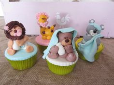 Cupcakes bebes animales de ME FALTA CLOE.  www.facebook.com/mefaltacloe