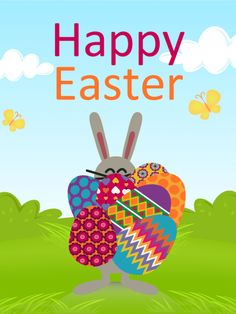 Happy Easter Bunny Card: The happy Easter bunny is carrying several Easter eggs on this sunny day. This cute Easter card will make everyone smile. Find the many hidden Easter eggs like the Easter bunny in this card and send it to your friends and family! Happy Easter Wishes, Happy Easter Greetings, Happy Easter Bunny, Online Greeting Cards, Birthday Greeting Cards, Birthday Greetings, Card Birthday, Birthday Reminder, Easter Pictures