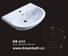 Product Name:Vessel Bathroom Sink   Model No.: DB-233  Dimension: 650X475X190mm  (1 inch = 25.4 mm)  Volume: 0.076CBM  Gross Weight: 20KGS  (1 KG ≈ 2.2 LBS) Sink shape: Oval