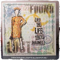 SARI HÄNNINEN - THE NORSU GIRL CRAFTS Tim Holtz layering stencils ink brush stitch stamp