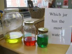Measurement  Inquiry  - For CAP classrooms, this could double in the discovery center with a graph (children put their name under the color they think has the most)-- Also, this is important- please use non-breakable PLASTIC jars and hot glue the lids on. :)