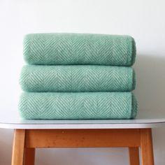 Seafoam Herringbone Wool Blanket from I Feel Smug Blanket Box, Wool Blanket, Camden Passage, Lifestyle Store, Textile Patterns, Textiles, Sea Foam, Soft Colors, Color Trends