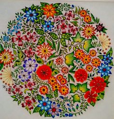 Johanna Basford Secret Garden Flower Mandala Finished Coloring