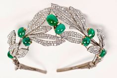 Emerald and Diamond Tiara set in platinum, German. Provenance the estate of Hermann Goering, now in collection of the Pinakothek der Moderne, Munich.