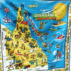 Excited to share the latest addition to my #etsy shop: Linen retro tablecloth  suppercloth 120cm x 120cm Queensland sunshine state   retro tablecloth souvenier Vintage graphics Linen