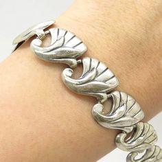 Danecraft Openwork Floral Link Bracelet Sterling Silver