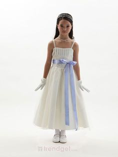 Cute A-line Straps Ankle-length Organza White Flower Girl Dresses - $99.99 - Trendget.com