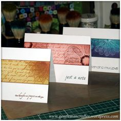 handmade notecard set: Simple Single Layer Stamping With Inkadinkado Stamping Gear ... luv the artistic look ...