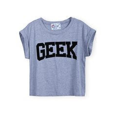 SheIn(sheinside) Grey Short Sleeve GEEK Print Crop T-Shirt (13 CAD) ❤ liked on Polyvore featuring tops, t-shirts, shirts, grey, round neck t shirt, print shirts, summer shirts, short sleeve shirts and short sleeve tops