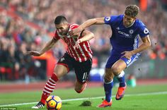 Dusan Tadic of Southampton takes the attack to Chelsea as he looks to get past Marcos Alonso down the flank
