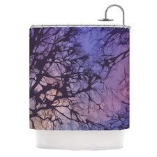 Skies Polyester Shower Curtain #violet #sky #showe #curtain #trees