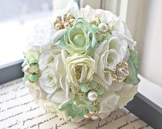 mint green and gold wedding flowers | ... Flower Bridal Bouquet, Mint Flower Bouquet, Wedding Bouquet, Brooch