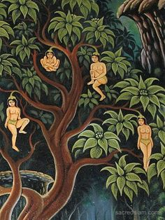 Nariphon- Buddhist myth: it is a mythical tree that grows fruit which resemble young female creatures attached by their heads. They grow in the mythical forest Himaphan and are eaten by the Gandharvas.