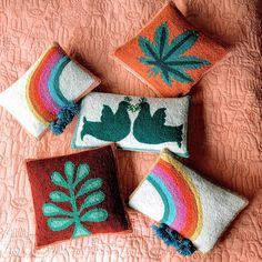 Justina Blakeney, Gloomy Day, Punch Needle, Pillow Set, Pillow Talk, One Color, Some Fun, Decoration, Bows
