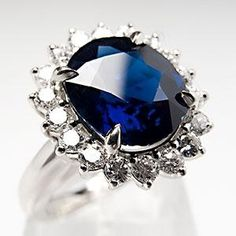4 Carat Natural Deep Blue Sapphire & Diamond Halo Engagement Ring 14K White Gold