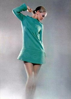 Model wearing a mini dress by Pierre Cardin, 1960s