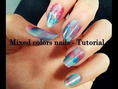 Mixed colors nails   Blue - pink - light blue   CZ tutorial - http://www.nailtech6.com/mixed-colors-nails-blue-pink-light-blue-cz-tutorial/