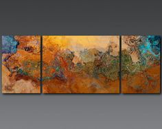 Extra Large triptych abstract art canvas print by FinnellFineArt, $475.00