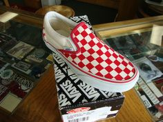 Vans Classic Slip On White Red Checkerboard Shoes