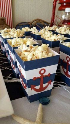 Baby shower food cheap center pieces 67 New ideas Baby Shower Snacks, Cheap Baby Shower, Baby Shower Parties, Baby Shower Themes, Baby Boy Shower, Baby Shower Nautical, Shower Ideas, Sailor Birthday, Sailor Party