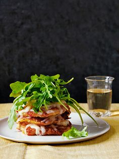 Corn Cake Stacks with Aged Cheddar and Arugula