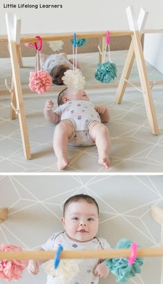 Baby play ideas at 3 months old. Find ideas for your baby play area featuring simple DIY infant and newborn sensory play ideas. Play gyms are a great tool for 3 months and 4 months baby play! infant Baby Play Ideas at 3 Months Baby Learning Activities, Infant Activities, 4 Month Old Baby Activities, Kids Learning, Baby Activity Gym, Montessori Activities, Diy Pour Enfants, Baby Play Areas, Baby Sensory Play