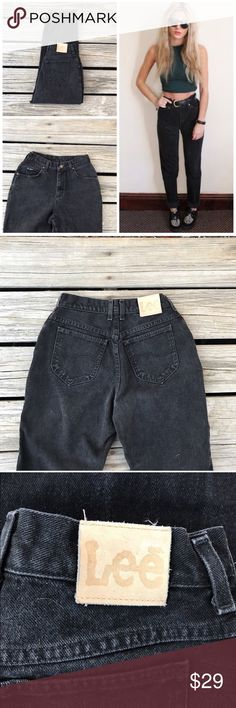 """Vintage Faded Black Mom Jeans Classic pair of Lee high waisted denim jeans. Faded black wash. 8/10 condition. Great vintage condition !  Tag states size 6 short, But ABSOLUTELY make sure to refer to ALL measurements before purchasing !  Waist 12""""  Rise 11""""  Thigh 11""""  Hip 20""""  Inseam 28""""  Leg Opening 6.5""""  Model is for styling ideas only - she is not wearing the same jeans listed  Photographs are part of the description, please look over them closely ! Vintage Jeans"""