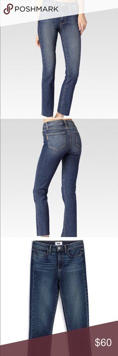 """Paige Jacqueline straight jeans axel wash 27 SOLD OUT online in this size and wash!! Stretch denim straight leg jeans with raw hem detail. Medium-blue wash. Flattering 10"""" high rise, 27"""" inseam. Size 27 axel wash. 95% cotton, 4% polyester, 1% elastane. PAIGE Jeans Straight Leg"""